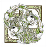 Lovely squirrel coloring page Royalty Free Stock Photography