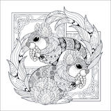 Lovely squirrel design. Lovely squirrel coloring page in exquisite style Royalty Free Stock Photo