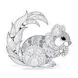 Lovely squirrel design. Lovely squirrel coloring page in exquisite style Royalty Free Stock Photos