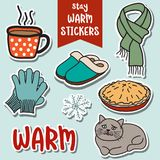 Stay warm stickers collection Royalty Free Stock Photography
