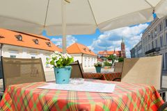 Lovely street cafe in Bialystok Stock Photos