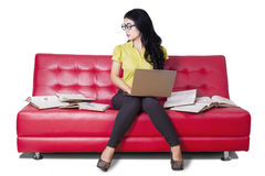 Lovely student sitting on sofa while studying Stock Photography