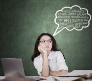 Lovely student with speech bubble of multi language Stock Photos