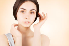 Lovely stylish  brunette skincare portrait concept Royalty Free Stock Photos