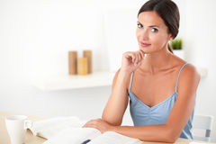 Lovely stylish woman studying her books Stock Images