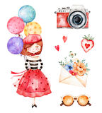 Lovely summer collection with young girl, multicolored balloons. Camera,letter,flowers,sunglasses,strawberry.Beautiful Paris set.Perfect for invitations royalty free illustration