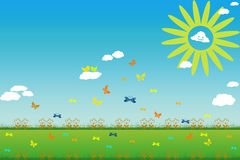 Lovely sunny day. With beautiful flowers and butterflies Stock Images