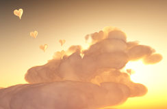 Lovely sunrise. Tender sunset, hearts from clouds, saint Valentine Day Stock Photo