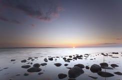 Lovely sunrise over the ocean. Southern of Sweden, Kalmar Sund, Öland Royalty Free Stock Photos