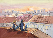 Lovely sunset. Night city roofs romance painting