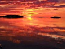 Lovely sunset. I North norway stock photo