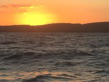 Sunset over Amity. Lovely sunset just starting to pass the horizon Royalty Free Stock Photos