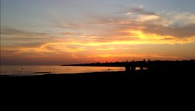 Lovely sunset. Orange summer sea stock photo