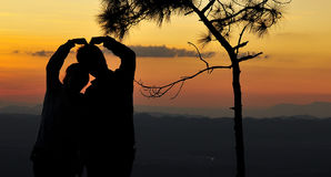 Romantic Sunset- Silhouette Stock Images