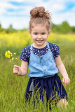 Lovely sweet girl happy beautiful woman on blooming rapeseed field in spring royalty free stock photos