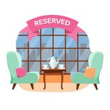 Lovely table for in the cafe for two people near the panoramic window overlooking the city.Ceramic teapot and cups on the table. stock illustration