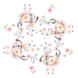 Lovely tablecloth. Bandana print with fairy birds and pink flowers. Stock Photos