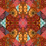 Lovely tablecloth, blanket, quilt, carpet. Festive patchwork pattern in indian style Stock Photography