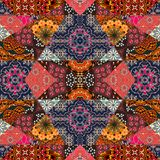 Lovely tablecloth, blanket, quilt, carpet. Festive patchwork pattern Stock Photography