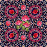 Lovely tablecloth or festive kerchief with roses, clematis and raspberries. On ornamental background Stock Photography