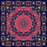Lovely tablecloth with floral mandala and ornamental frame. Stock Images