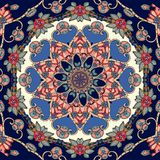 Lovely tablecloth with flower - mandala in indian style. Beautiful seamless pattern stock illustration