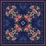 Lovely tablecloth with flowers. Beautiful ethnic vector ornament. Silk neck scarf, bandana print, kerchief design Stock Image