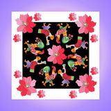 Lovely tablecloth or kerchief. Bandana print or silk neck scarf with beautiful ornament from flowers and fairy birds. Royalty Free Stock Image