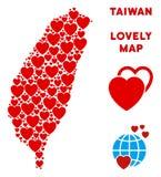 Vector Love Taiwan Island Map Mosaic of Hearts vector illustration