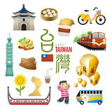 Lovely Taiwan landmarks and snacks map in flat style. The word on sky lanterns means blessing in Chinese Stock Photos