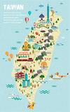 Lovely Taiwan Travel Map Royalty Free Stock Photo