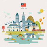 Lovely Taiwan travel map Stock Photo