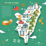 Lovely Taiwan travel map Royalty Free Stock Image