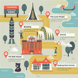 Lovely Taiwan travel map. Design in flat style Stock Images