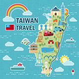 Lovely Taiwan travel map. Design in flat style Stock Photos