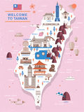 Lovely Taiwan travel map. Design in flat style Stock Photo