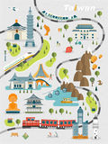 Lovely Taiwan travel map. Design in flat style Royalty Free Stock Photo