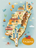 Lovely Taiwan travel map. Design in flat style Royalty Free Stock Photos
