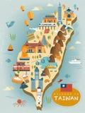 Lovely Taiwan travel map stock illustration