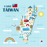 Lovely Taiwan travel map. Design in flat style Stock Image