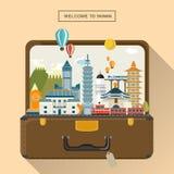 Lovely Taiwan travel poster stock illustration