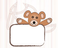 Lovely teddy bear with sign stock images