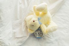 Lovely teddy bear on white bed background with alarm clock. Time management concept. Morning time with happiness stock photos