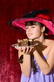Lovely teen girl with cake Stock Photo
