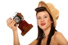 Lovely teen girl with old camera Stock Photos