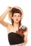 Lovely teen girl with old camera Royalty Free Stock Photo