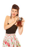 Lovely teen girl with old camera Stock Photo