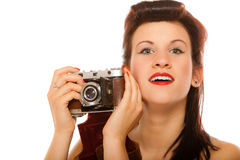 Lovely teen girl with old camera Stock Image