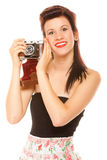 Lovely teen girl with old camera Stock Photography