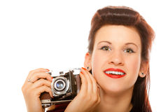 Lovely teen girl with old camera Stock Images